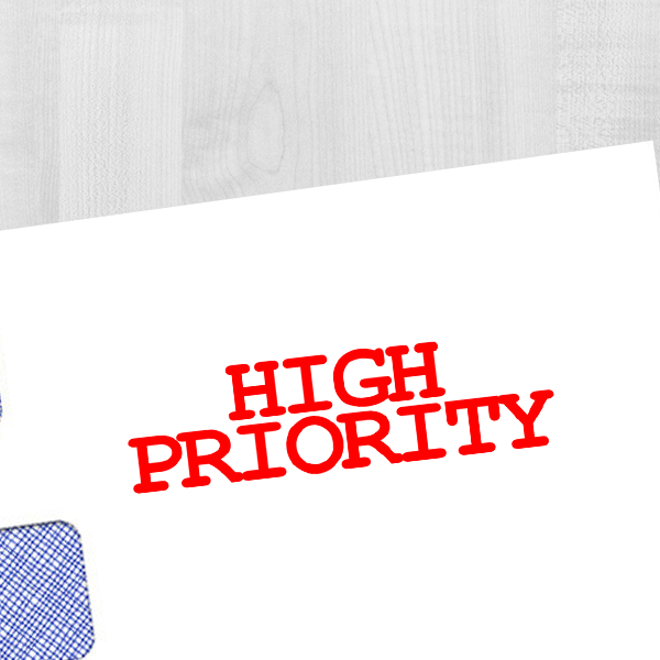 High Priority Stock Stamp Imprint Example