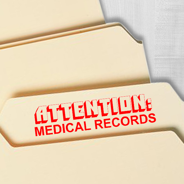 Medical Records Attention Stamp Imprint Example