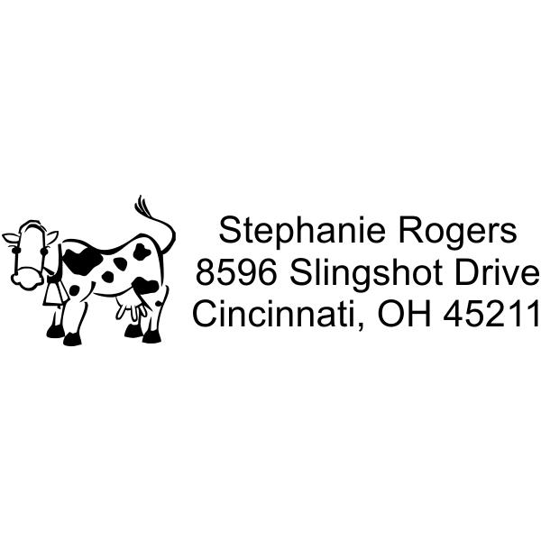 Cow Cute Custom Address Rubber Stamp