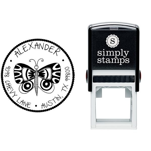 Butterfly Round Address Stamp Body and Design