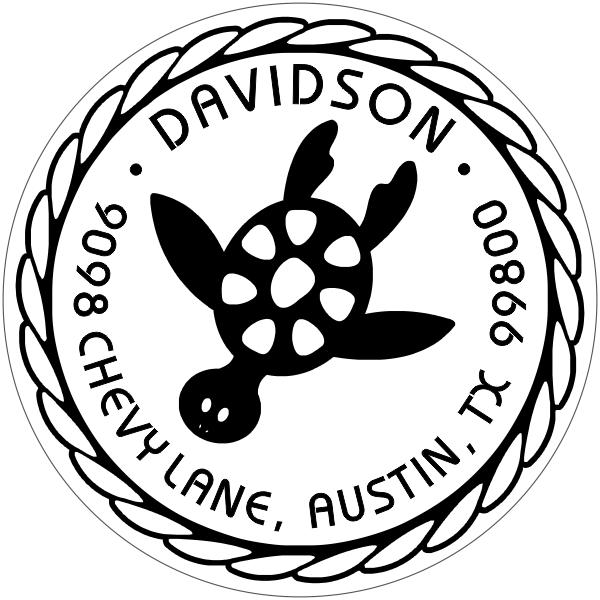 nautical turtle return stamp custom design