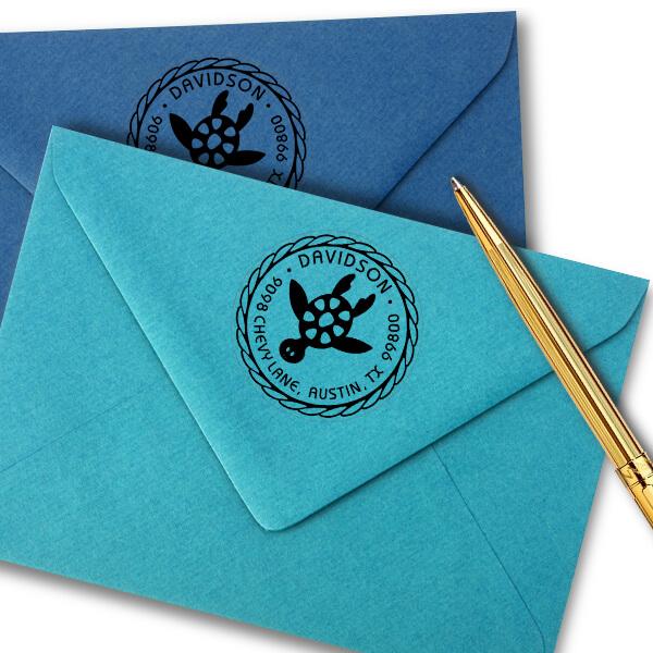 Round Turtle Address Stamp Imprint Example