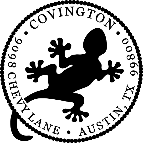 Gecko return address rubber stamp
