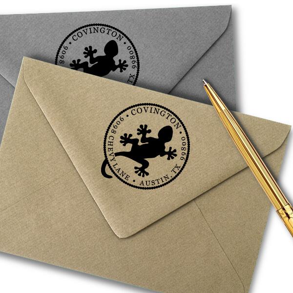 Round Gecko Address Stamp Imprint Example