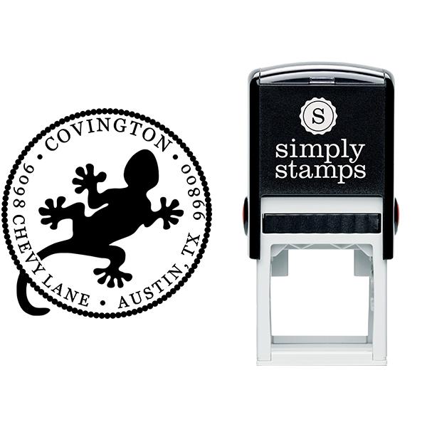 Round Gecko Address Stamp Body and Design