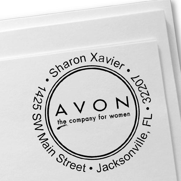 Round Custom Avon Consultant Stamp Style 4 Imprint Example