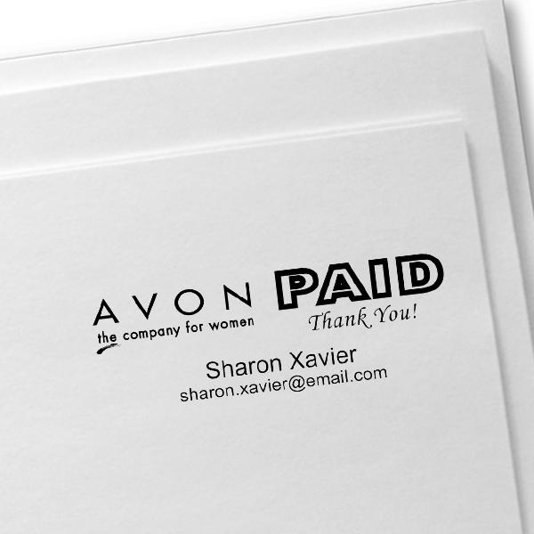 Custom Avon Consultant Stamp Style 12 Imprint Example