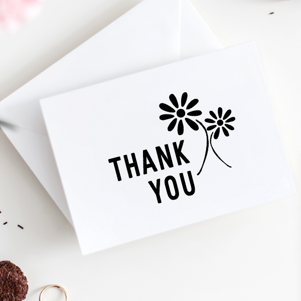 Thank You Flower Stamp Imprint Example