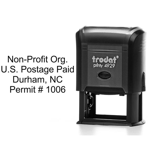 Non-Profit Org Postage Paid Permit Stamp Body and Design