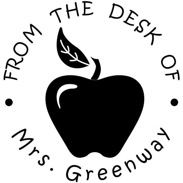 From The Desk Of - Bold Apple Teacher Rubber Stamp