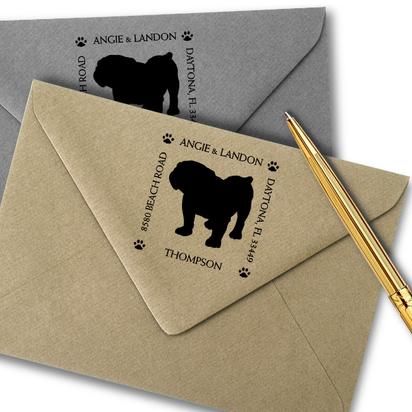 English Bulldog Pet Lover Dog Return Address Stamp Imprint Example