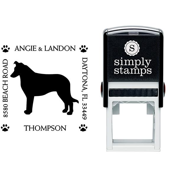Border Collie Pet Lover Dog Address Stamp Body and Design