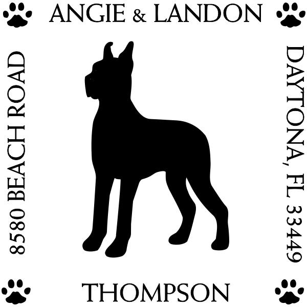 Great Dane Dog Return Address stamp