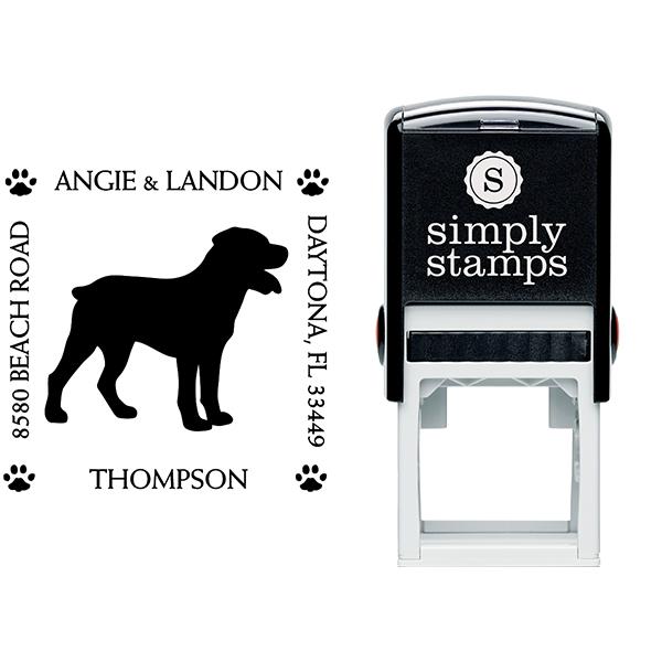 Rottweiler Pet Lover Dog Address Stamp Body and Design