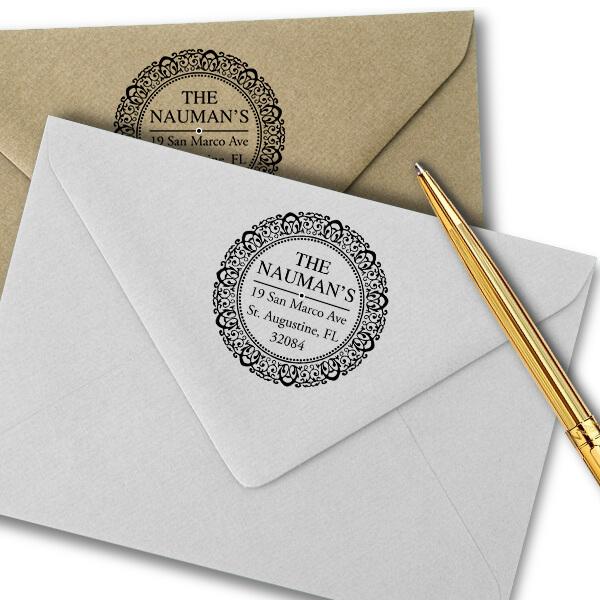 Harrison Round Return Address Stamp Imprint Example