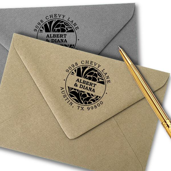 Albert Round Return Address Stamp Imprint Example