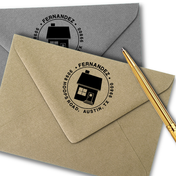Home Round Return Address Stamp Imprint Example