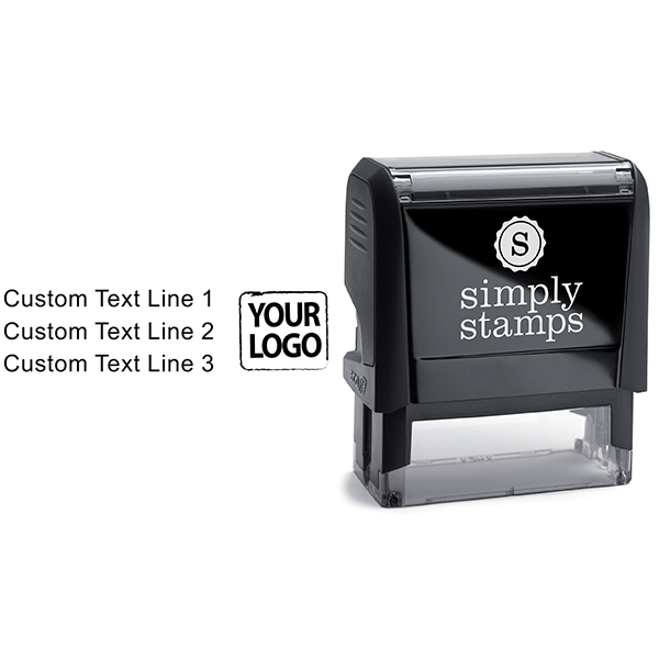 Custom Rubber Logo Stamp with Text Body and Design