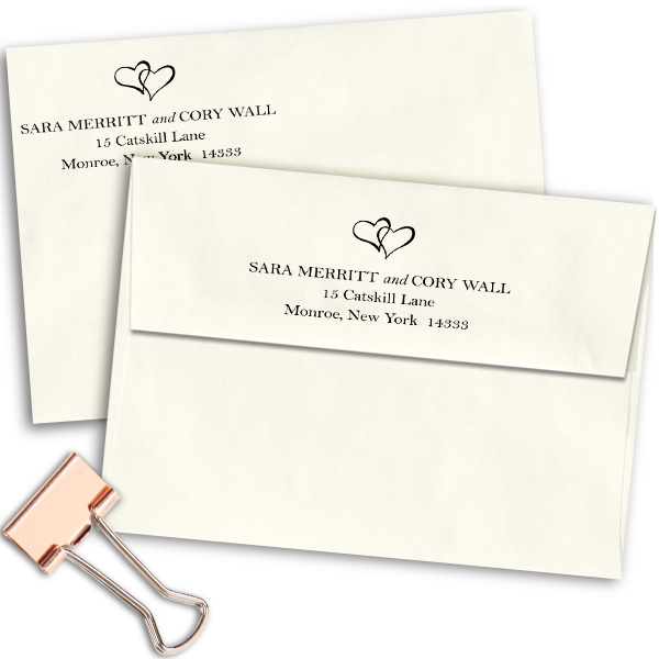 Linked Hearts Address Stamp Imprint Example