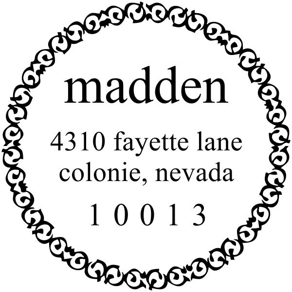 Circle Madden Rubber Address Stamp