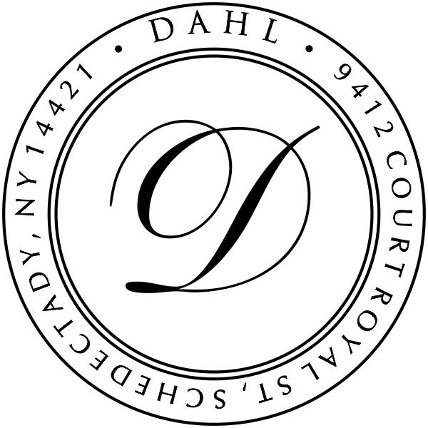 Dahl Round Address Stamp Rubber Stamp