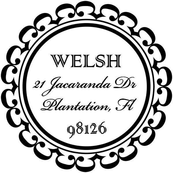 round lace border return address stamp