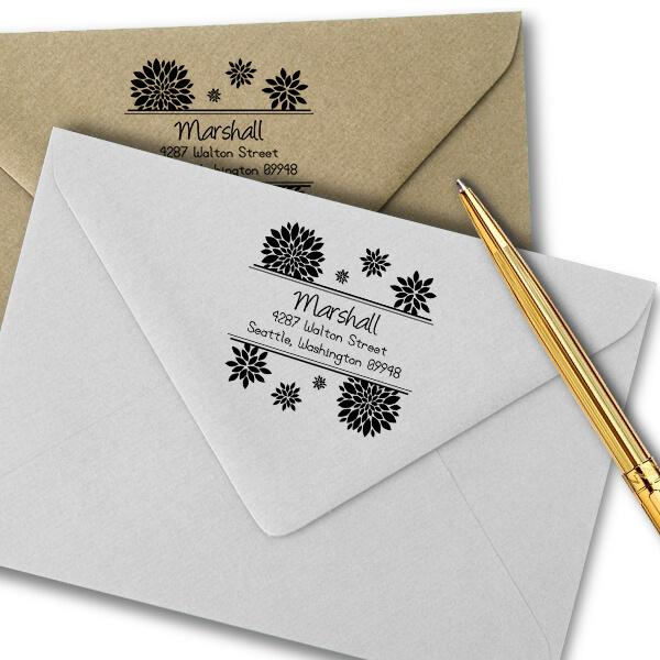 Walton Flower Address Stamp Imprint Example