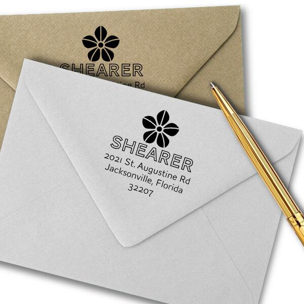 Manning Flower Square Address Stamp Imprint Example