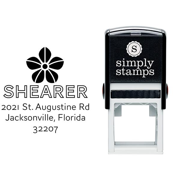 Manning Flower Square Address Stamp Body and Design