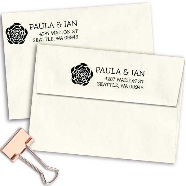 Walton Open Flower Address Stamp Imprint Example