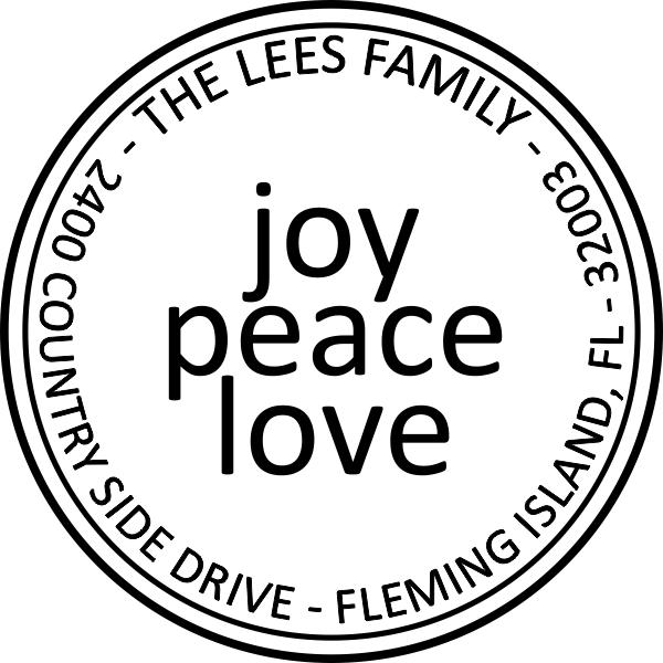 Joy Peace Love Round Address Stamp