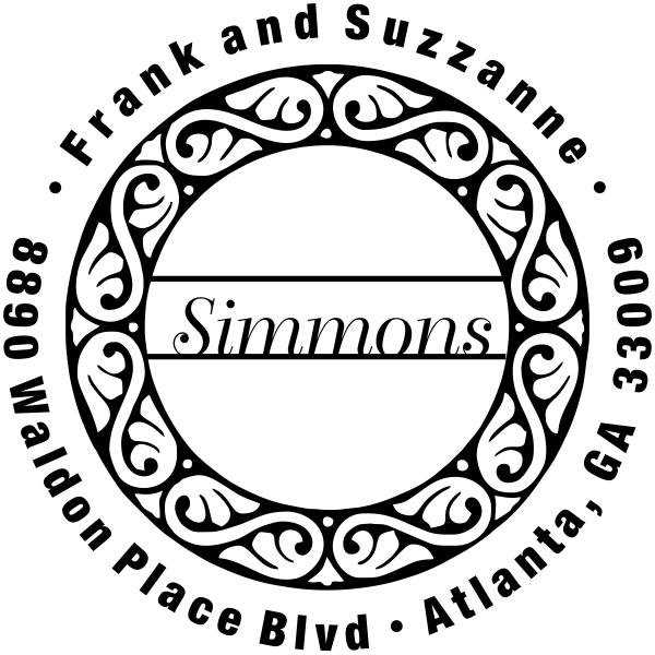 Simmons Round Return Address Stamp
