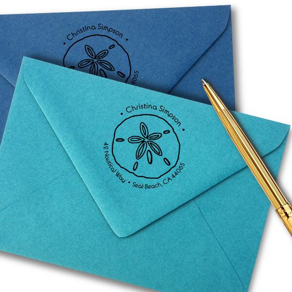 Nautical Sand Dollar Round Return Address Design stamped on envelope