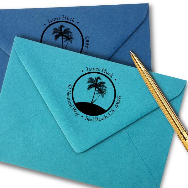 Nautical Palm Trees Round Address Stamp