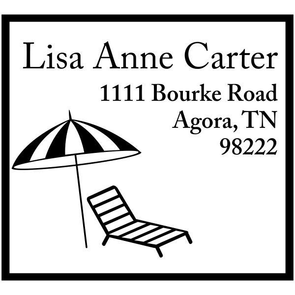 Ocean beach chair rubber address stamp