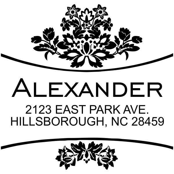 Square Floral rubber address stamp