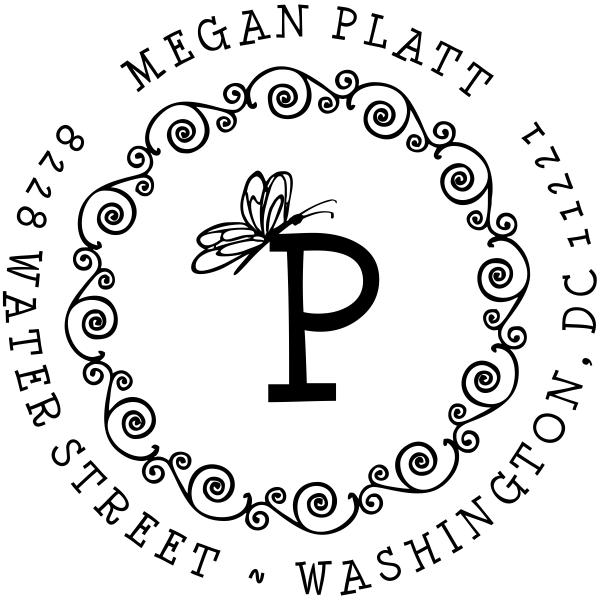 Butterfly monogram address rubber stamp