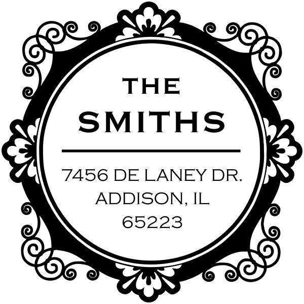 Round custom return address stamp