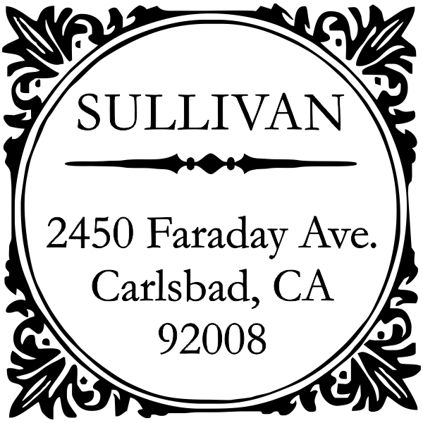 Square custom return address stamp design