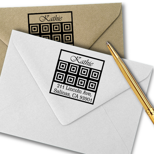 Lincoln Tile Square Address Stamp Imprint Example