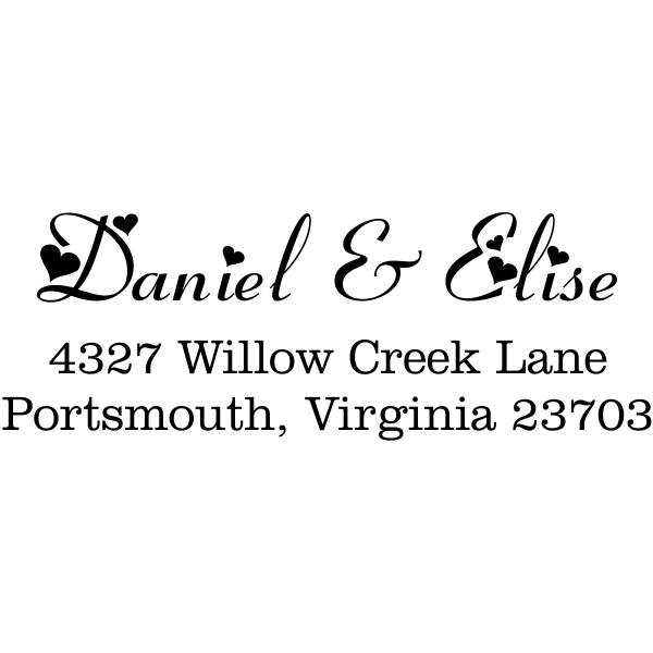 Hearts address stamp design
