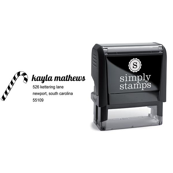 Mathews Candy Cane Address Stamp Body and Design