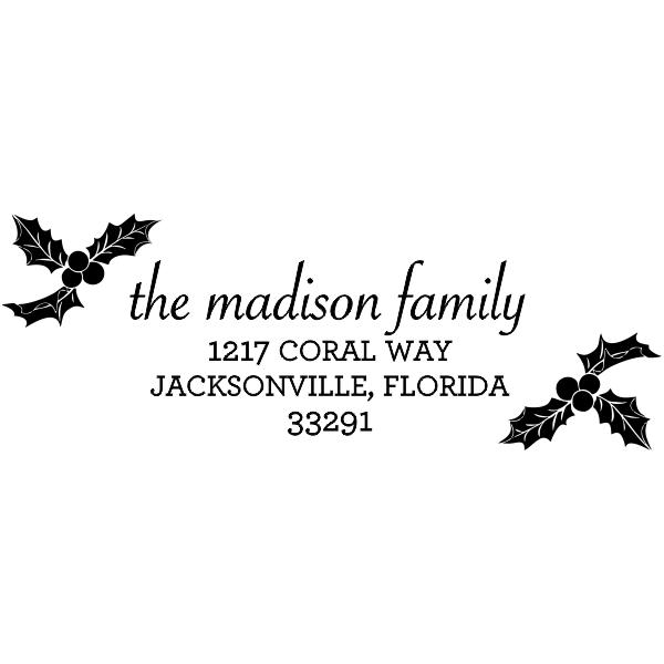 Holiday Holly Return Address stamp