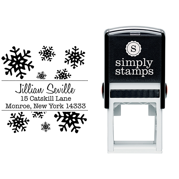 Seville Snowflakes Square Address Stamp Body and Design