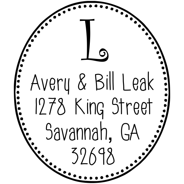 monogram rubber address stamp design