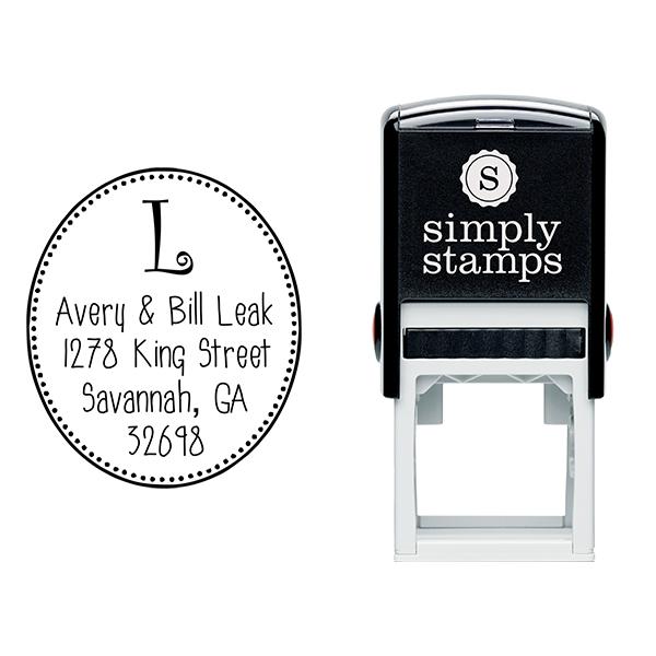 Avery Oval Monogram Address Stamp Body and Design