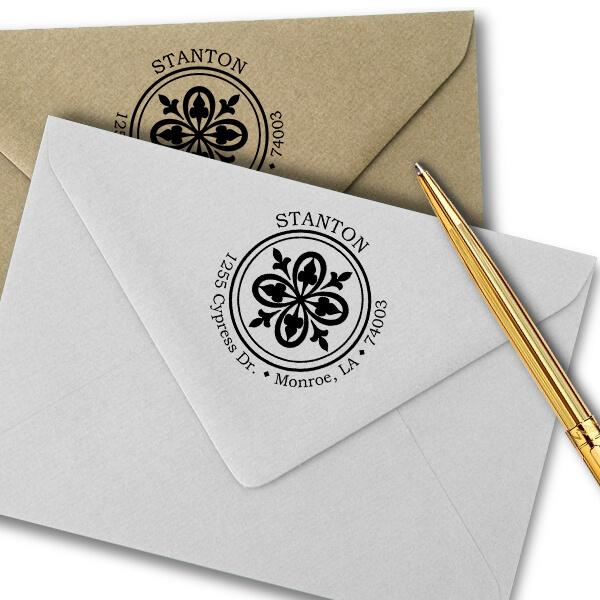Stanton Deco Round Address Stamp Imprint Example
