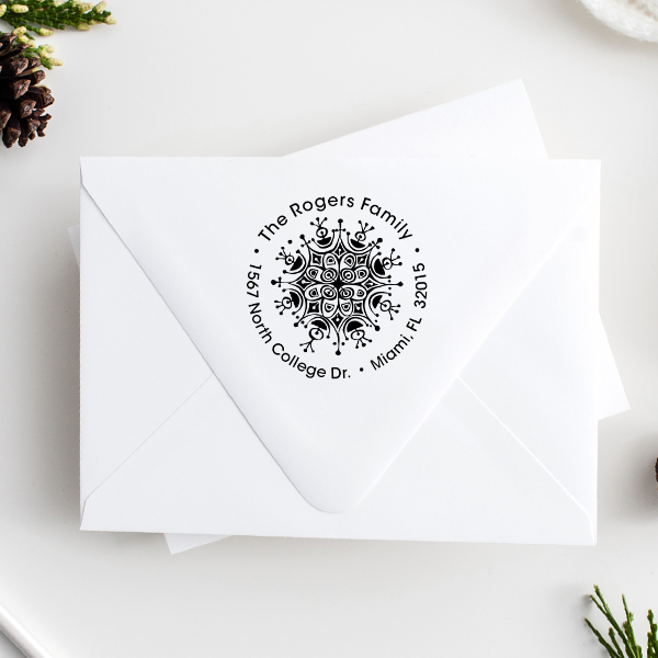 Rogers Ornament Round Address Stamp Imprint Example