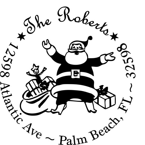 Holiday Santa address stamp
