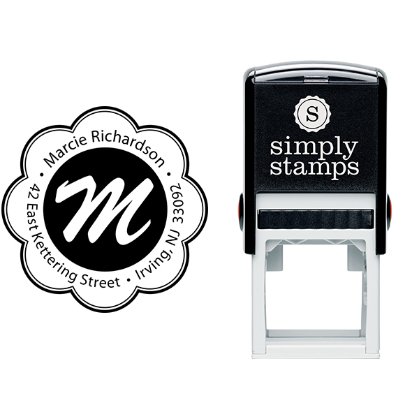 Flower Border Monogram Round Address Stamp Body and Design